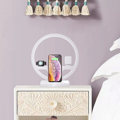 4 IN 1 QI Fast Qi Wireless Charger Dock for Apple iPhone iWatch Airpods & LED Night Stand
