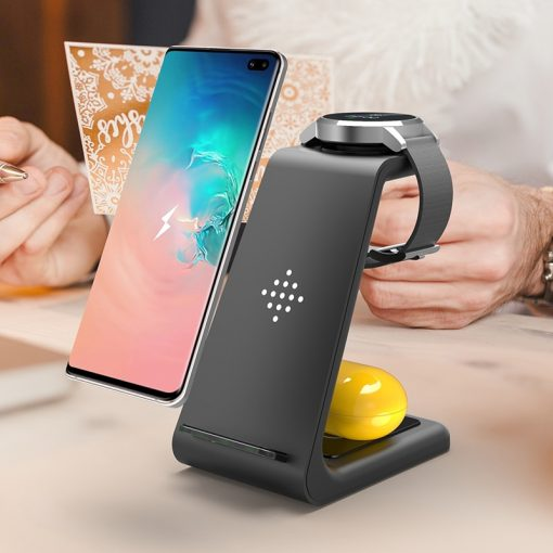 Minimalistic 3 In 1 QI Wireless Charger For Samsung S10 Plus and Galaxy Buds, watch