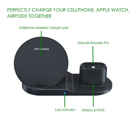 3 in 1 Fast Wireless Charger Dock Station For iPhones Airpods Apple Watch