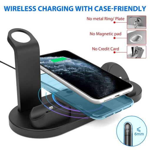 10W 4 in 1 Wireless Charging Dock Station For Apple Watch iPhone & Airpods Pro