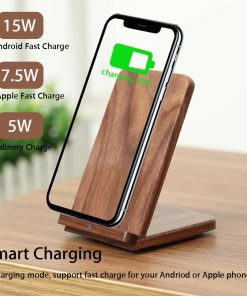 Premium 15W Walnut Wood Wooden Qi Wireless Charger Pad