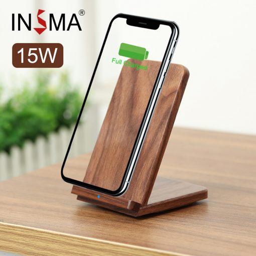 Premium 15W Walnut Wood Wooden Qi Wireless Charger Pad