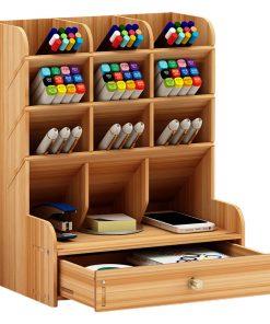 Multi-function Wooden Desktop Pen Holder Organizer