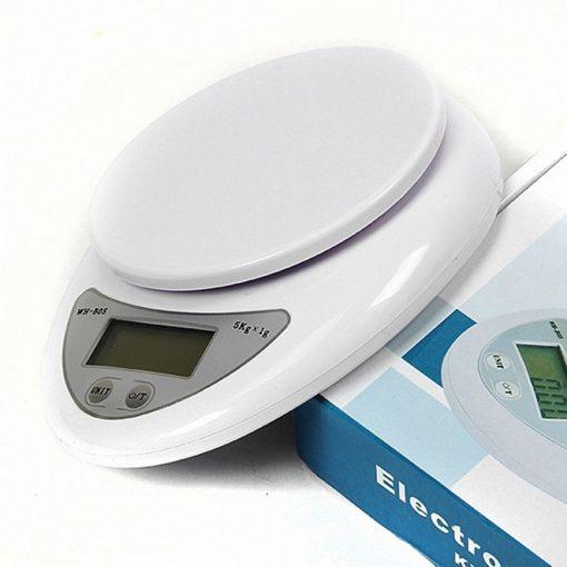 White Electronic Digital Kitchen Food Scale Upto 5kg