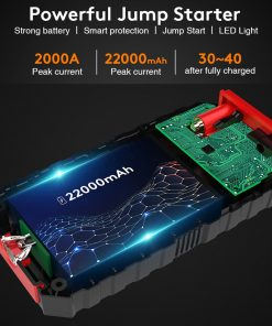 22000mAh 12V Portable Car Battery Booster Charger Jump Starter