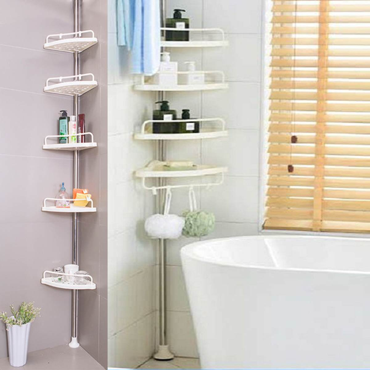 Tension Pole Shower Caddy Bathroom Corner Storage Caddy Kivaj