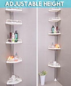 Tension Pole Shower Caddy, Bathroom Corner Storage Caddy (4 Shelf)