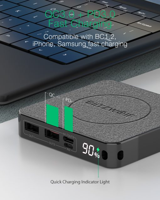 QC3 Wireless Power Bank 10000 mAh, PD 18W, 3-Outputs, 37Wh capacity
