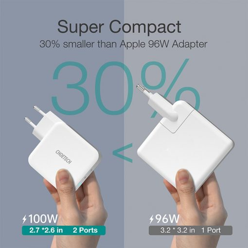 100W PD GaN Dual USB Type C Charger for MacBooks, iPads, iPhone 12 Pro