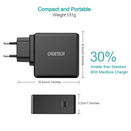 60W PD USB-C QC 3.0 Wall Charger For MacBooks, iPad, iPhone 12, Tablets, Nintendo Switch
