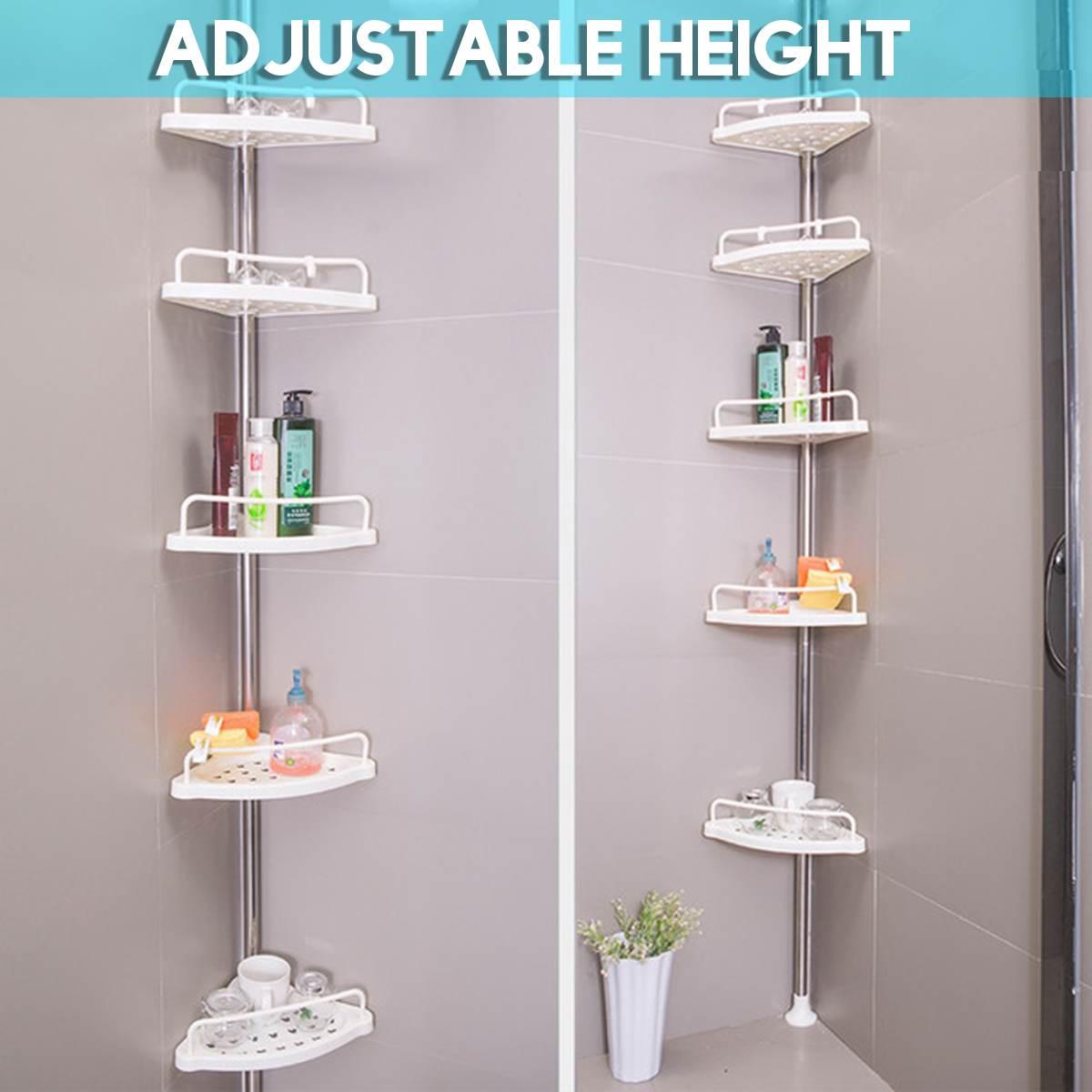 Tension Pole Shower Caddy Bathroom Corner Storage Caddy 4 Shelf Kivaj