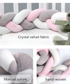 1-3M Braided Crib Bumper Knot Pillow Cushion Crib Protector for Infants