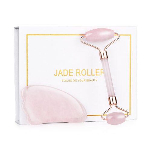 Rose Jade Roller Face Massager Rose Quartz  Gua Sha