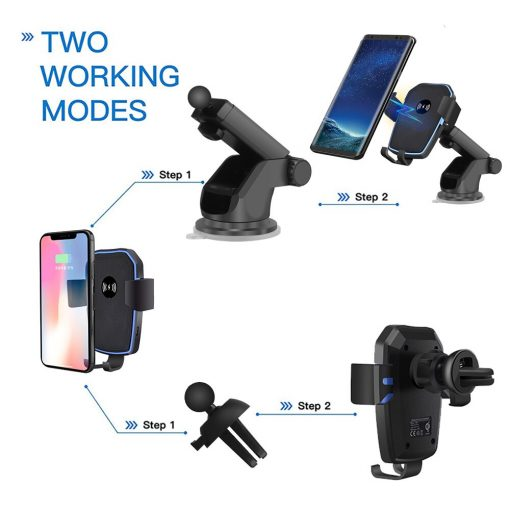 Qi Wireless Car Charger Mount For iPhones 10W Fast Wireless Charging Car Phone Holder
