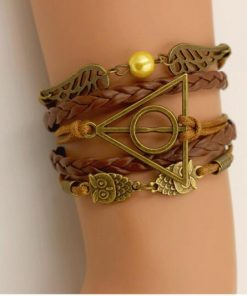 3D Leather Cord Bracelet with Wings Owl & Symbols