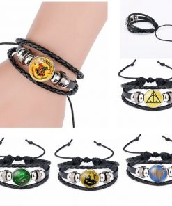 PotterHeads 3D Printed Leather Bracelet Charm Magic Academy Badge