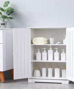 Bathroom Floor Storage Cabinet with Double Door Three-Layer Shelf, 24.75 x 12.25 x 31.5 Inches
