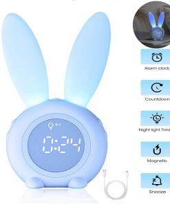 Bunny Kids Alarm Clock Touch Control Night Light