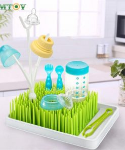BPA Free Green Grass Style Countertop Baby Bottle Drying Rack With Water Tray