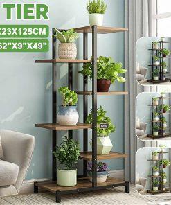 4 Tiers Iron Wooden Plant Rack Stand Bookshelf 60x23x125cm