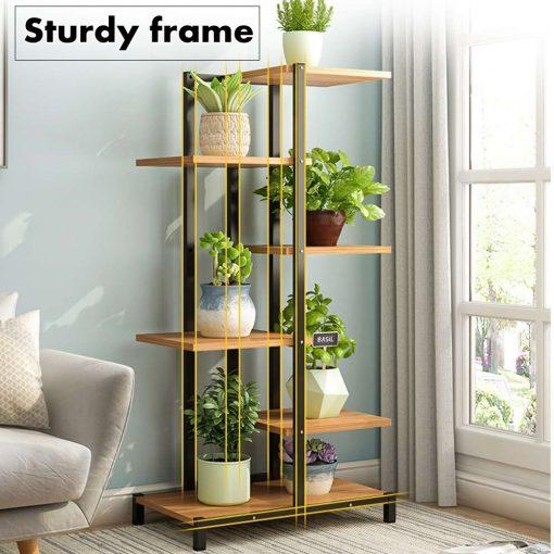 5 Tiers Indoor Wooden Iron Plant Stand Rack Display Shelf
