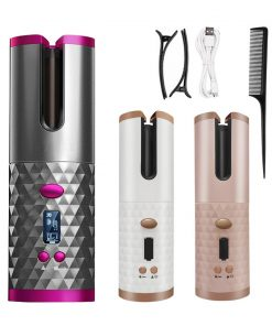 Portable Wireless Automatic Curling Iron Hair Curler USB Rechargeable for LCD Display Curly Machine with 1 Comb 2pc Clips