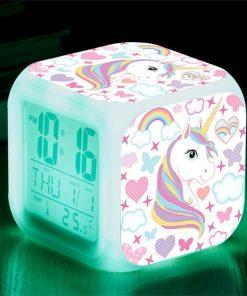 Glowing Unicorn Cube Alarm Clock LED Digital Clock 7 Color Changing Light Night