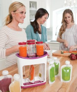Baby Food Squeeze Station Pouch Feeling into Reusable pouches.