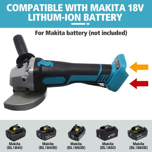 18V 800W 125mm Brushless Cordless Impact Angle Grinder without battery