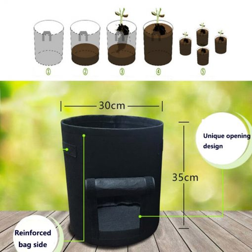 3pcs Bet Potato Grow Bags with Side Opening (4,7,10 Gallons)