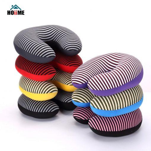 Microbead Neck Pillow Stripe Printing Travel U Shaped Neck Pillow