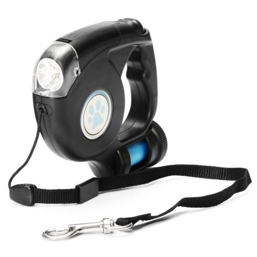 3in1 LED Retractable Dog Leash With Flashlight & Garbage Bag Holder