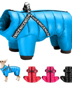 Small Pet Dog Coat Jacket With Harness Winter Warm Dog Clothes For Bulldog Chihuahua Outfits Waterproof Dog Clothing Jackets