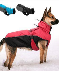 Reflective Winter Dog Jacket Adjustable For Large Dogs